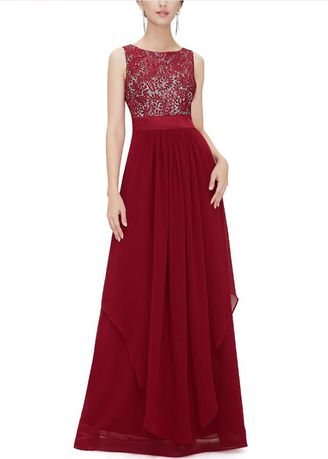 แดง color เดรส . Women's Elegant Long Cocktail Lace Vintage Wedding Evening Party Maxi Dress -