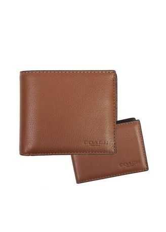 85167e6b8b67 COACH กระเป๋าสตางค์ COMPACT ID WALLET IN SPORT CALF LEATHER F74991 CWH  (Dark Saddle)