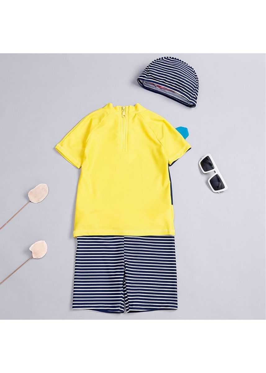 เหลือง color ชุดว่ายน้ำ . Striped Swim Rashguard and Boardshorts with Hat -