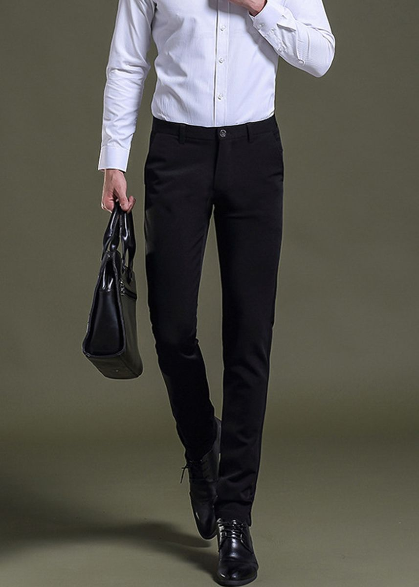 Black color Formal Trousers . Men's Formal Solid Fashion Business Pants -