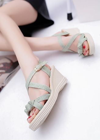 Green color Sandals and Slippers . Pure Color Wedges Fish Mouth Sandals -