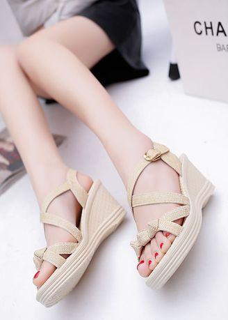 Beige color Sandals and Slippers . Pure Color Wedges Fish Mouth Sandals -