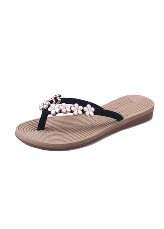 Black color Sandals and Slippers . Fashionable Flower Slippers -