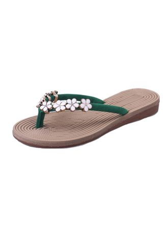 Green color Sandals and Slippers . Fashionable Flower Slippers -