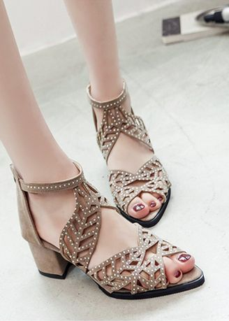 Beige color Sandals and Slippers . Rhinestone Zipper Thick With Fish Mouth Sandals -