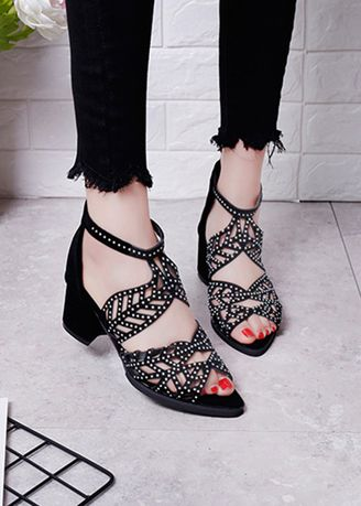 Black color Sandals and Slippers . Rhinestone Zipper Thick With Fish Mouth Sandals -