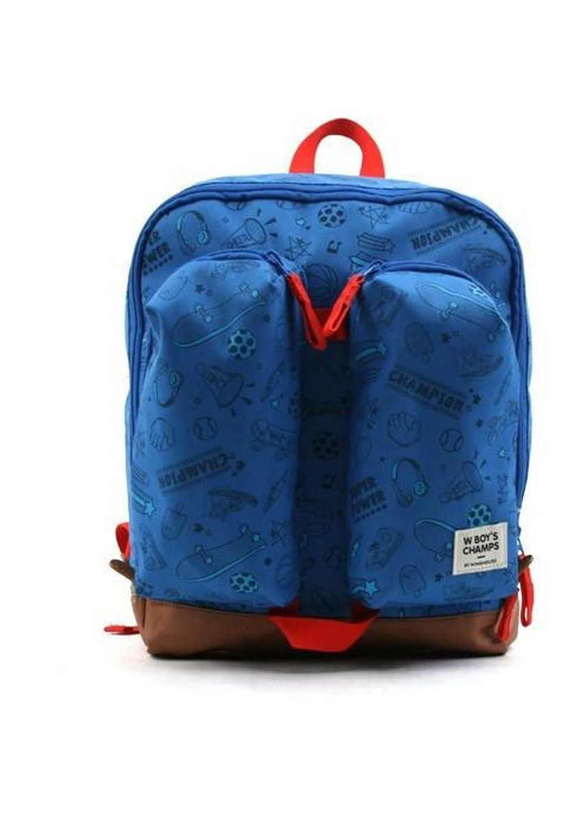 Blue color Bags . Winghouse Wing Exciting Double Pocket Backpack -