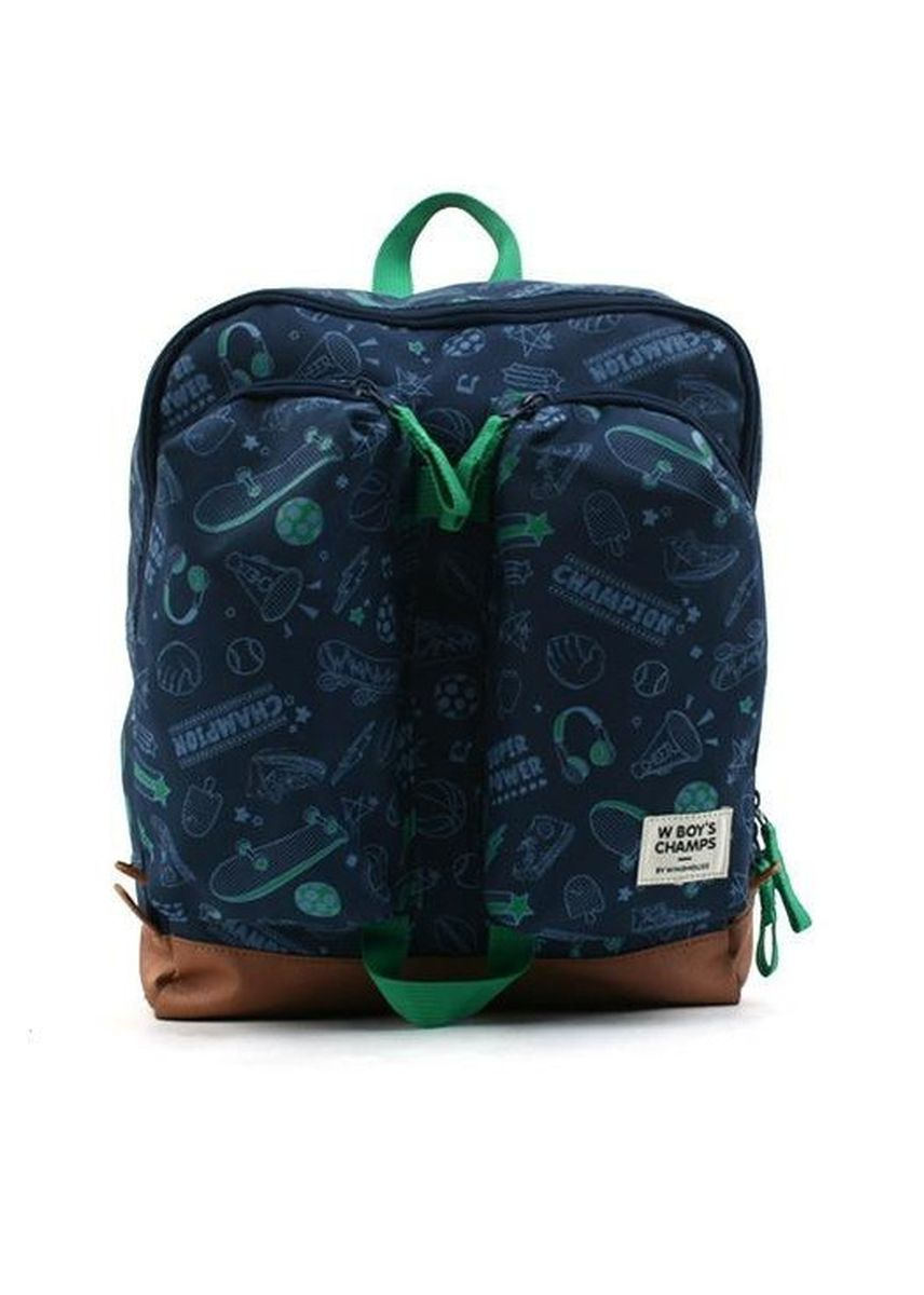 Navy color Bags . Winghouse Wing Exciting Double Pocket Backpack -