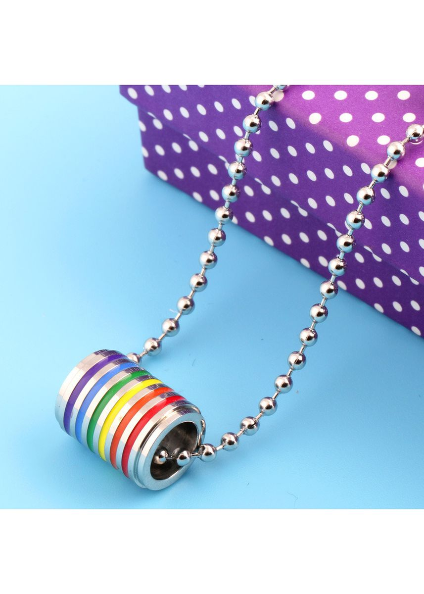 มัลติ color สร้อยคอ . LGBT Rainbow Stainless Steel Ring Pendant Necklace -