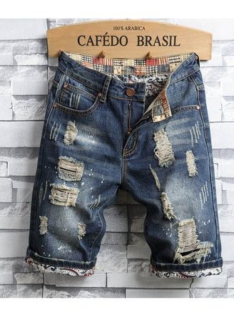Shorts & 3/4ths . Summer Men Ripped Knee Length Jeans Short -