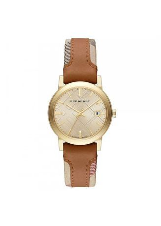 Brown color Analog . Burberry The City Haymarket Check Leather Ladies Watch BU9133 -