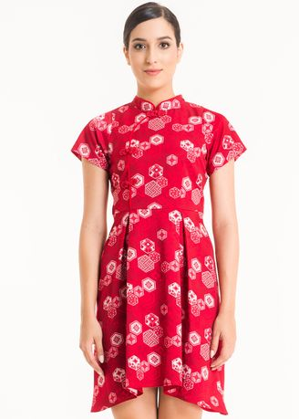 Red color Dresses . Short Sleeve Cotton Print Dress FL001A-SS18 -