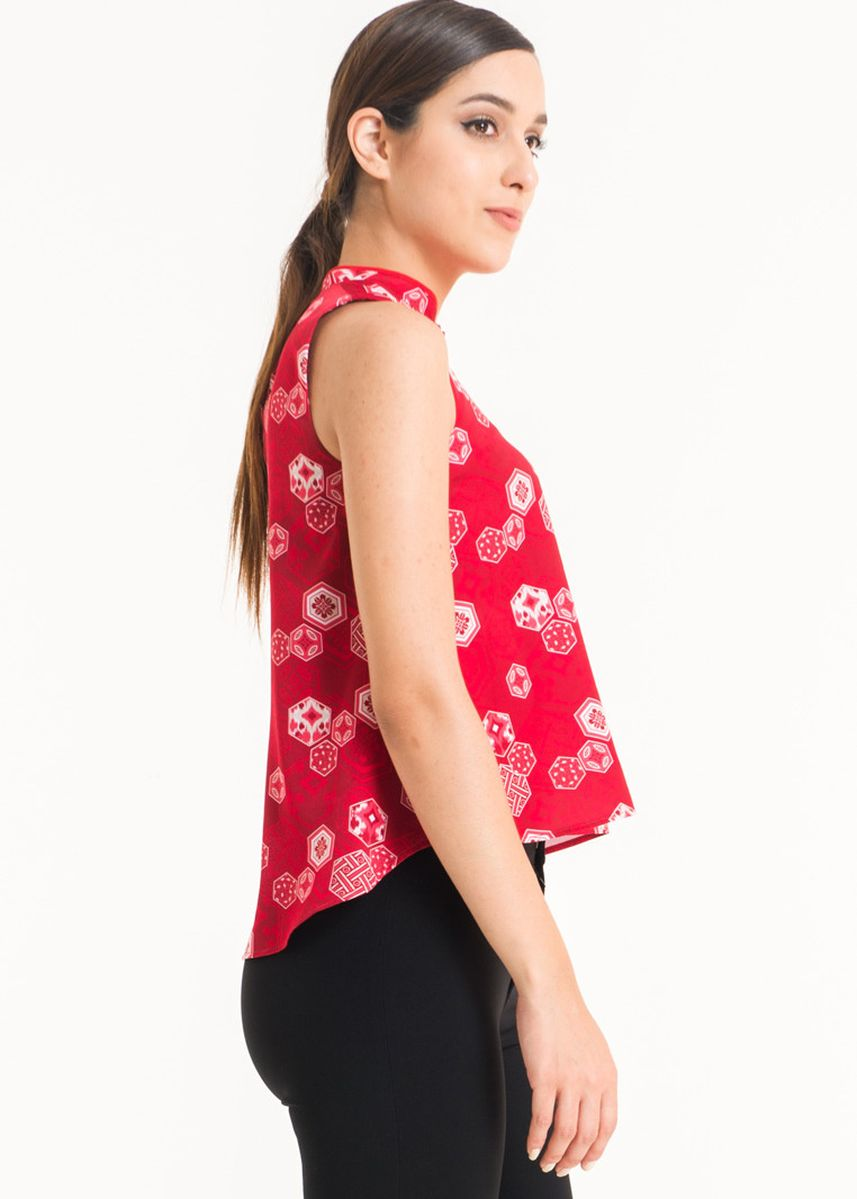 Red color Tops and Tunics . Sleeveless Cotton Print Blouse FL001D-SS18 -