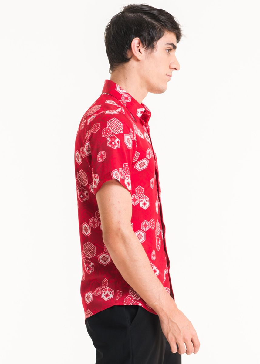 Red color Casual Shirts . Short Sleeve Cotton Print Shirt FM001B-SS18 -