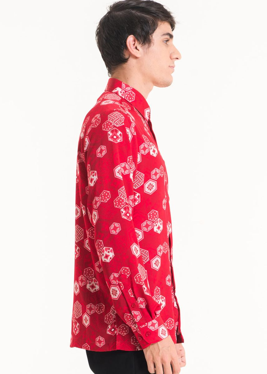 Red color Casual Shirts . Long Sleeve Cotton Print Shirt FM001D-SS18 -