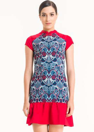 Red color Dresses . Short Sleeve Cotton Print Dress FL004A-SS18 -