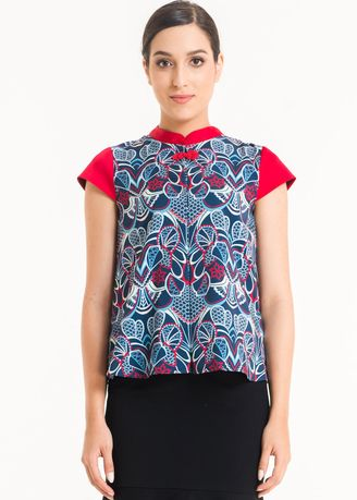 Navy color Tops and Tunics . Short Sleeve Cotton Print Blouse FL004B-SS18 -