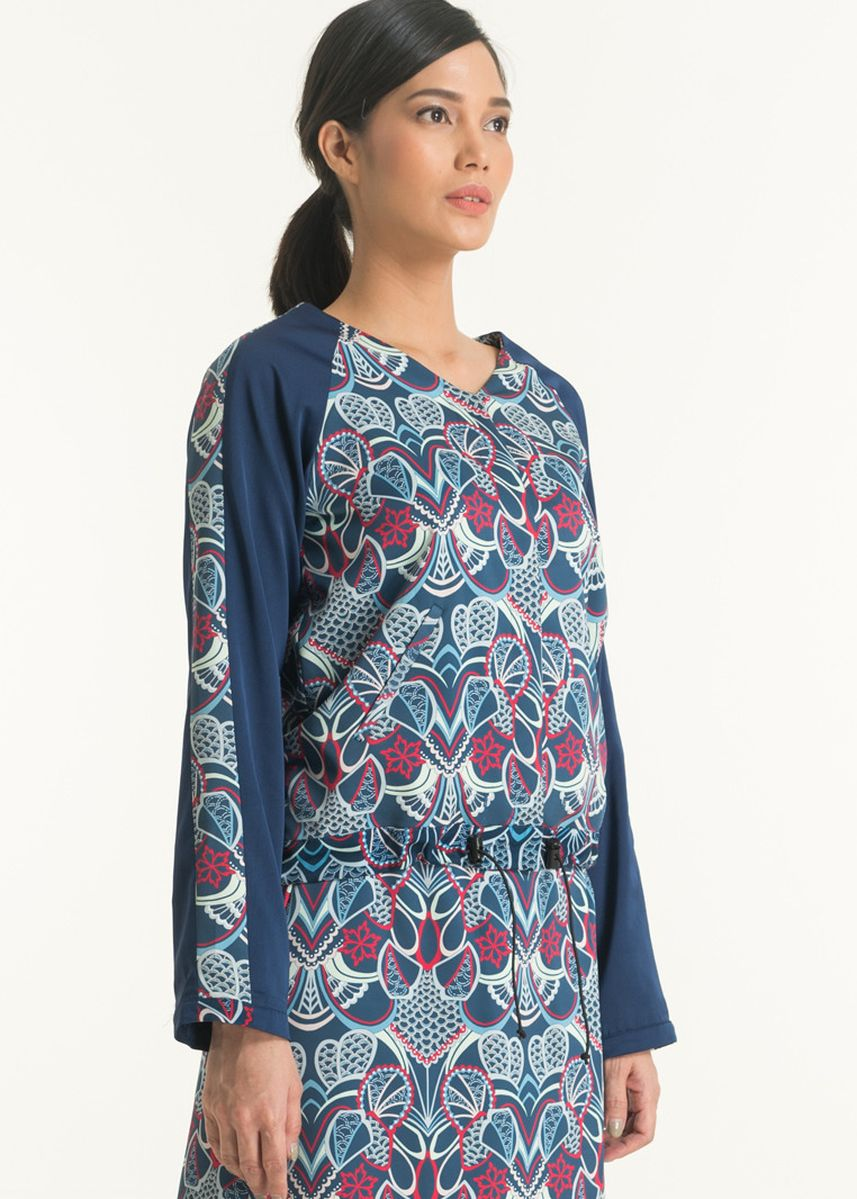 Navy color Tops and Tunics . Long Sleeve Cotton Print Blouse FL008D-SS18 -