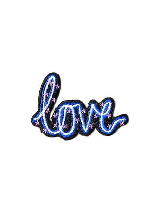 Blue color Other . Electric Love Iron On Patch -