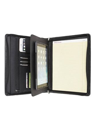 Personalized Fine Leather Portfolio Organizer Zippered Padfolio
