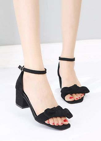 Black color Sandals and Slippers . Thick Buckle Bow Sandals -