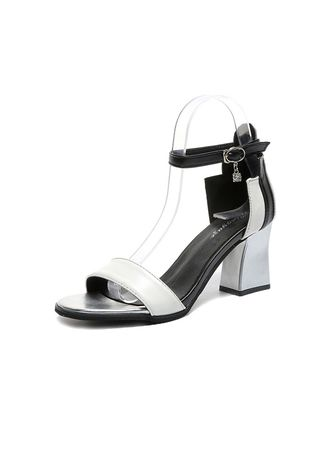 White color Sandals and Slippers . Color Matching Thick Buckles Sandals -