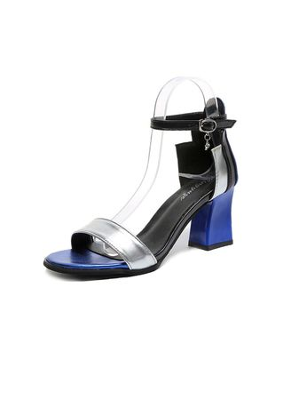 Blue color Sandals and Slippers . Color Matching Thick Buckles Sandals -