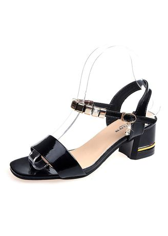 Black color Sandals and Slippers . Fish Mouth Thick With Buckle Sandals -