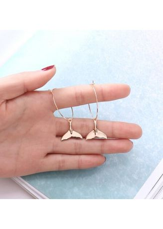 New Simple Style Hoop Earrings the Dolphin Tail Dangle Jewelry ... 5922a88cc
