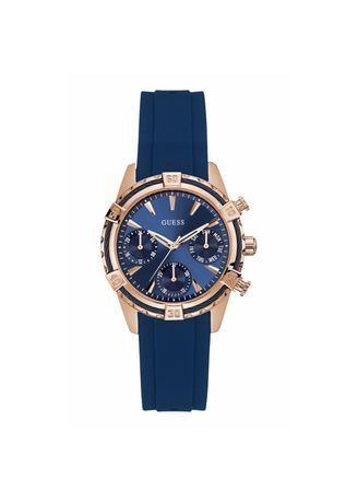 Navy color Analog . นาฬิกาข้อมือผู้หญิง Guess Catalina Silicone Strap Ladies Watch W0562L3 -