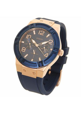 Navy color Analog . นาฬิกาข้อมือผู้หญิง Guess Blue Dial Blue Silicone -