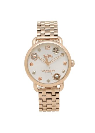 Gold color Analog . นาฬิกาข้อมือผู้หญิง Coach Delancey Stainless Steel Ladies Watch -