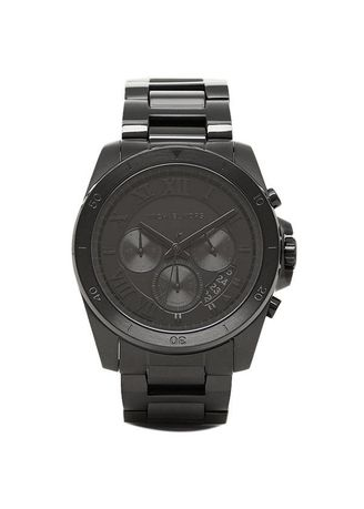 ce6a3201b2b6 นาฬิกาข้อมือผู้ชาย Michael Kors Brecken Chronograph Black Dial Stainless  Steel Mens Watch