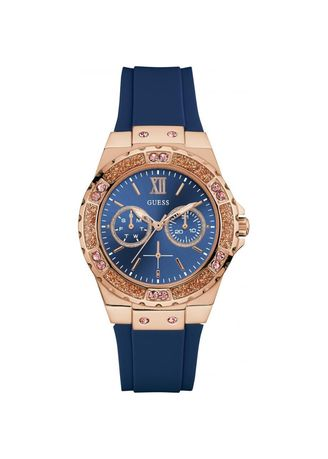 Navy color Analog . นาฬิกาข้อมือผู้หญิง Guess Limelight Blue Silicone Strap Ladies Watch W1053L1 -