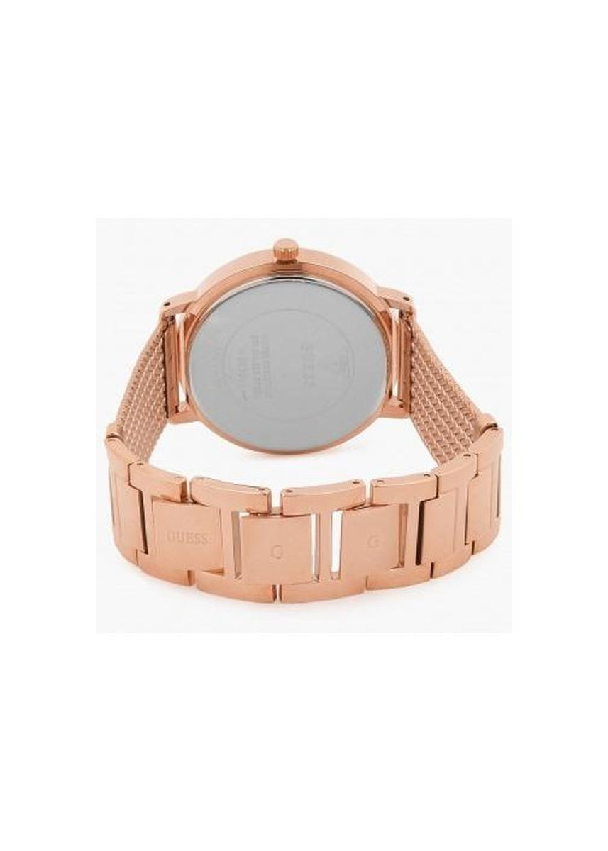 Gold color Analog . นาฬิกาข้อมือผู้หญิง Guess Willow Blue Dial Rose Gold Stainless Steel Ladies' Watch W0863L1 -