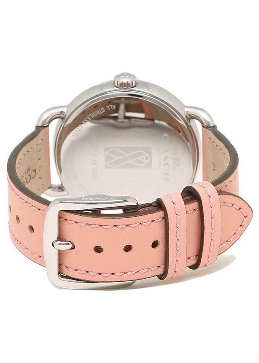 Pink color Analog . นาฬิกาข้อมือผู้หญิง Coach Delancy Silver Dial Pink Leather Strap Ladies Watch 14502799 -
