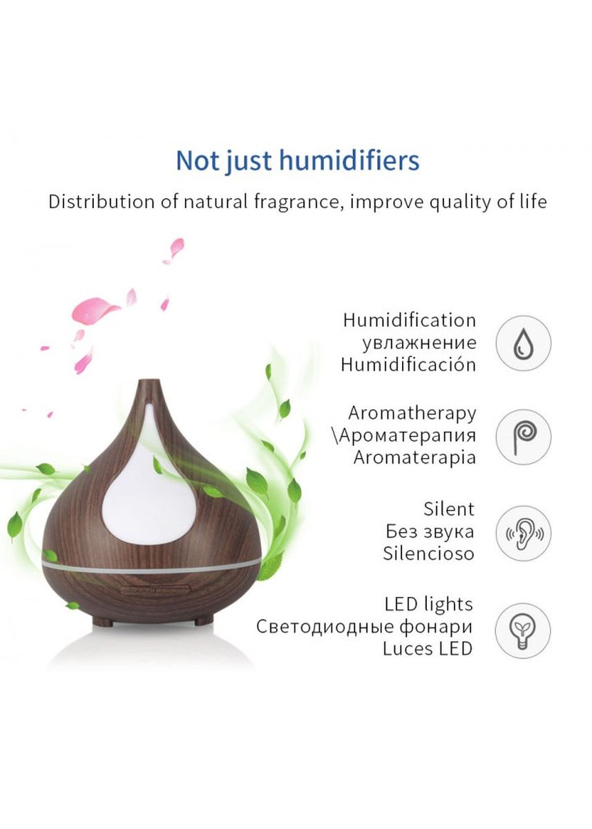 Black color Home Fragrances . H35 Wooden Humidifier Aroma Diffuser Essential Oil 300ml Black -