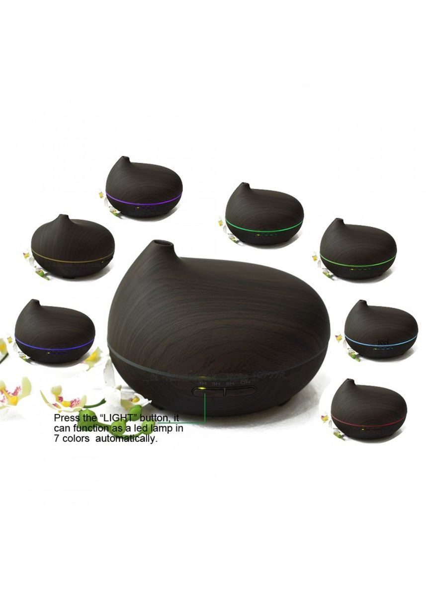 Black color Home Fragrances . H36 Wooden Humidifier Aroma Diffuser Essential Oil 300ml Black -