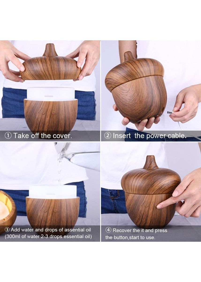Brown color Home Fragrances . H43 ACorn Humidifier Essential Oil Diffuser LED Light 300ml Brown -