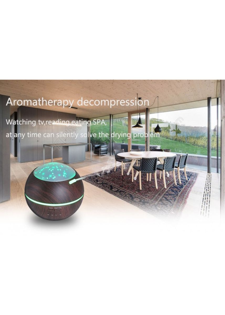 Black color Home Fragrances . Wooden Romantic Projection Aroma Diffuser Humidifier - 150ml Black -
