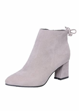 Grey color Boots . Pointed Suede Thick With Martin Boots -