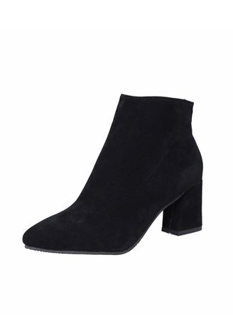 Black color Boots . Pointed Suede Thick With Martin Boots -