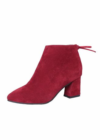 Maroon color Boots . Pointed Suede Thick With Martin Boots -