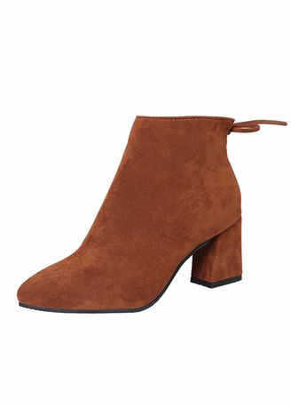 Brown color Boots . Pointed Suede Thick With Martin Boots -