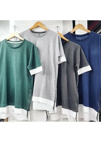 Green color T-Shirts and Polos . Double T-Shirt With side zips -
