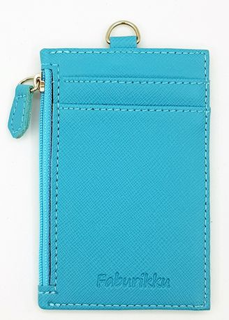 Light Blue color Wallets and Clutches . Zip Premium Cardholder Portrait -