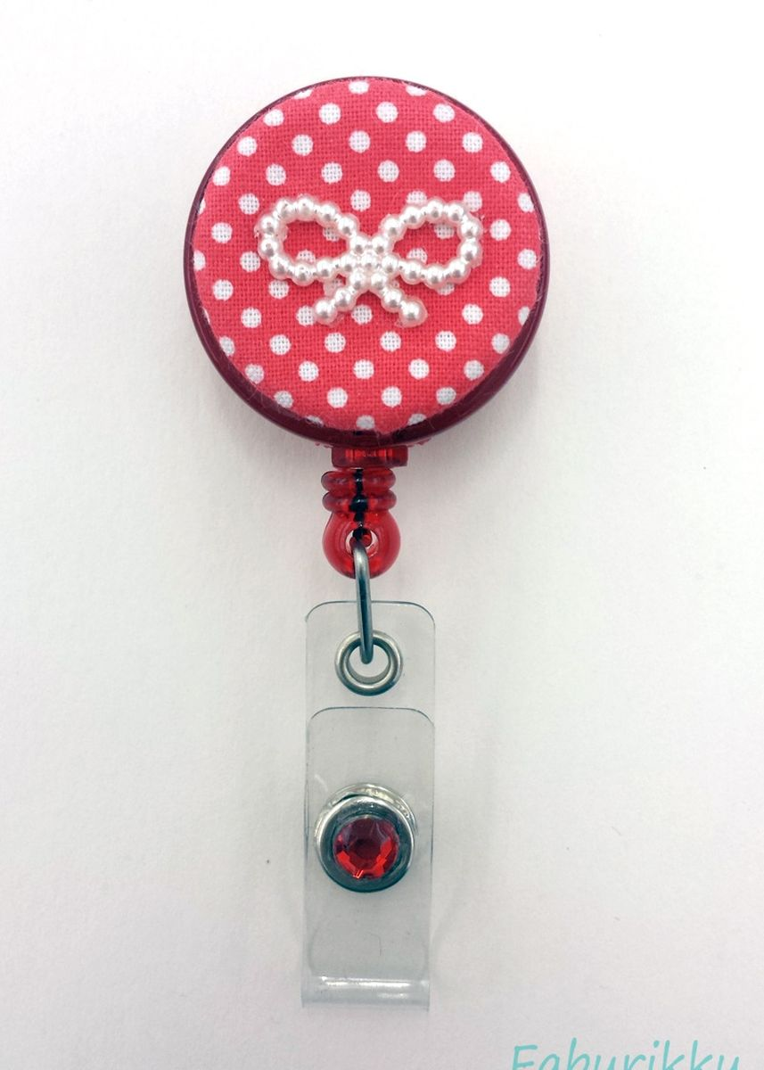 Red color Other . Polkadot Ribbon Fabric Clip-On Badge Reel -
