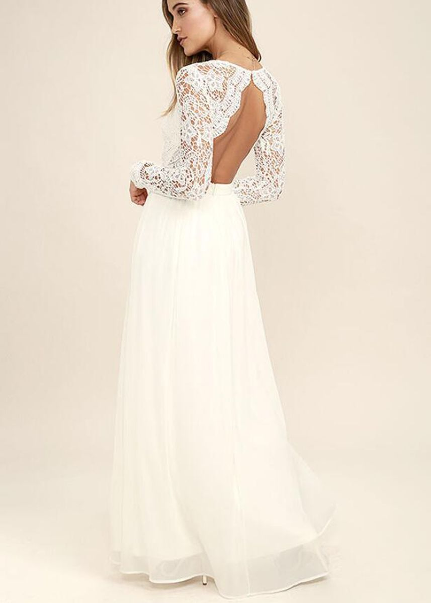 White color Dresses . Chiffon Lace Long Sleeve Dress -