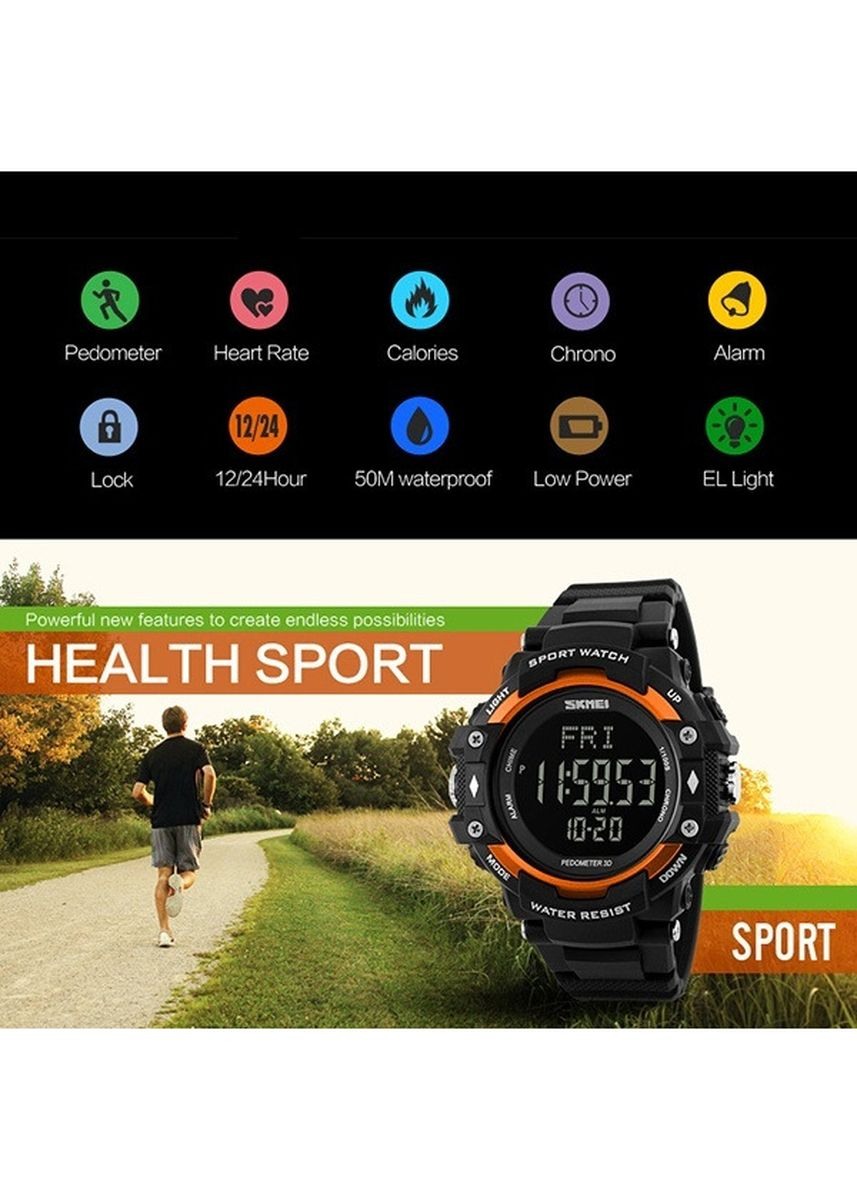 Silver color Analog . SKMEI 1180 Watch 3D Pedometer Heart Rate Pria Monitor Kalori Counter WristWatch Digital LED Olahraga -