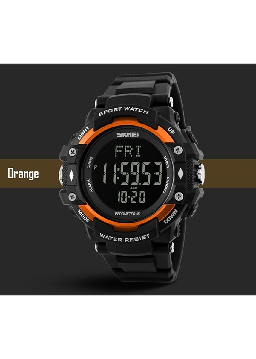 Orange color Analog . SKMEI 1180 Watch 3D Pedometer Heart Rate Pria Monitor Kalori Counter WristWatch Digital LED Olahraga -